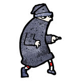 Cartoon sneaking thief. Retro cartoon with texture. Isolated on White Stock Photography