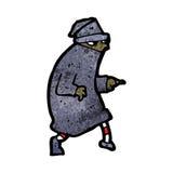 Cartoon sneaking thief. Retro cartoon with texture. Isolated on White Stock Photo