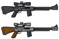 Cartoon sniper rifles vector weapon icons. Cartoon sniper rifles isolated on white background. Vector weapons firearms icons Royalty Free Stock Photography