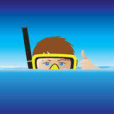 Cartoon snorkeller Royalty Free Stock Photos