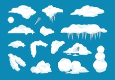 Free Cartoon Snow Caps. Frozen Drips And Icicles With Snowballs And Snow Drifts, Winter Decoration Frame Elements. Vector Set Stock Photo - 164129970