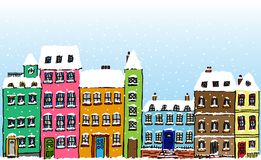 Cartoon Snow Covered Street Royalty Free Illustration