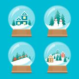 Cartoon Snow Globe Icons Set. Vector. Cartoon Snow Globe Icons Set Celebration Concept Element Flat Design Style. Vector illustration of Icon Holiday Ball vector illustration