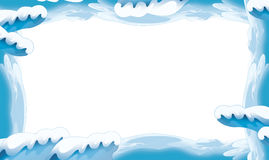 Cartoon snow and ice frame for different usage with space for text. Beautiful and colorful illustration for the children - for different usage - for fairy tales royalty free illustration