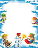 Cartoon snow and ice frame for different usage with space for text. Beautiful and colorful illustration for the children - for different usage - for fairy tales vector illustration