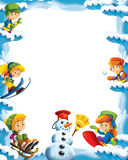 Cartoon snow and ice frame for different usage with space for text. Beautiful and colorful illustration for the children - for different usage - for fairy tales stock illustration