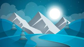 Cartoon snow landscape. Sun, snow, fir, mountine illustration. V. Cartoon snow landscape. Sun, snow, fir mountine illustration Vector eps 10 Royalty Free Stock Image