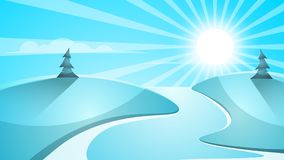 Cartoon snow landscape. Sun, snow, fir illustration. Cartoon snow landscape. Sun, snow, fir mountine illustration Vector eps 10 Royalty Free Stock Images