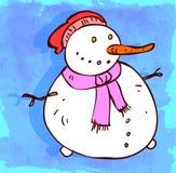 Cartoon snow man illustration, vector icon. Royalty Free Stock Photography