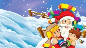 Cartoon snow scene with santa claus and kids. Illustration for children vector illustration