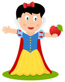 Cartoon Snow White Holding a Red Apple Royalty Free Stock Photos