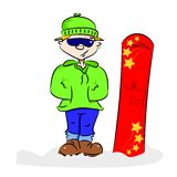 A cartoon snowboarder Royalty Free Stock Image