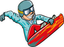 Cartoon snowboarder in the air Stock Photos