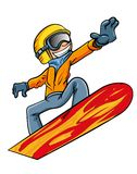 Cartoon snowboarder flying through the air Stock Photo