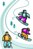 Cartoon snowboarders Stock Photos