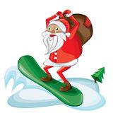 Cartoon snowboarding Santa Stock Image