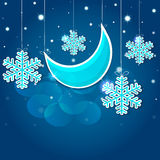 Cartoon snowflakes and moon in the night sky. Vector EPS 10. Stock Images