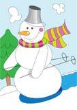 Cartoon snowman. Illustration of funny cartoon snowman, skiing Stock Photos