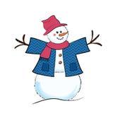 Cartoon snowman. Cute cartoon snowman wearing jacket, scarf and floppy hat royalty free illustration