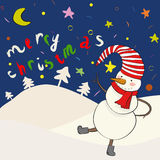 Cartoon snowman in. Cartoon snowman dancing on the snow place. Vector illustration Royalty Free Stock Images