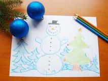 Cartoon snowman Stock Image
