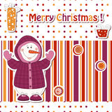 Cartoon snowman. Christmas greeting card with cartoon snowman vector illustration