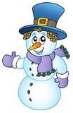 Cartoon snowman with big hat. Illustration vector illustration