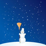 Cartoon Snowman with Broom Royalty Free Stock Photos