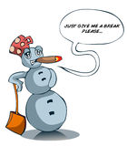 Cartoon Snowman with a Cigar and Talking Balloon. Royalty Free Stock Photo