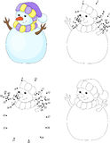 Cartoon snowman. Coloring book and dot to dot game for kids Royalty Free Stock Photo