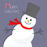 Cartoon Snowman in the corner. Violet background. Merry Christmas card Flat design Royalty Free Stock Image