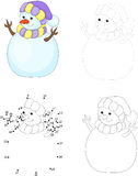 Cartoon snowman. Dot to dot game for kids. Cartoon snowman. Dot to dot educational game for kids Royalty Free Stock Photo