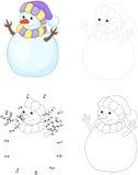 Cartoon snowman. Dot to dot game for kids Royalty Free Stock Photo