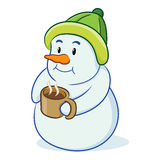 Cartoon snowman with drink. Illustration of cartoon snowman with cup of hot chocolate, white background royalty free illustration