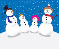 Cartoon Snowman Family Royalty Free Stock Images