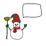 Cartoon snowman hand drawn Royalty Free Stock Image