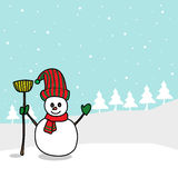 Cartoon snowman hand drawn Royalty Free Stock Images