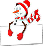 Cartoon snowman holding blank sign Stock Image