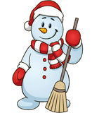 Cartoon snowman holding a broom. Vector clip art illustration simple gradients Stock Image