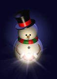 Cartoon snowman holding christmas star. Over dark Royalty Free Stock Images