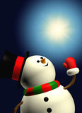 Cartoon snowman holding christmas star over dark. Background Stock Photography