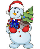 Cartoon snowman holding Christmas tree and gifts. Vector clip art illustration simple gradients Stock Photos