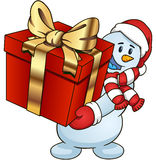 Cartoon snowman holding a gift Vector clip art illustration simple gradients Royalty Free Stock Image