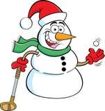 Cartoon snowman holding a golf club.