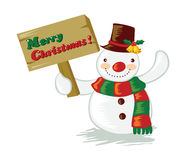 Cartoon snowman. Holding a signboard Royalty Free Stock Photography