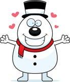 Cartoon Snowman Hug Royalty Free Stock Photo