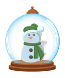 Cartoon Snowman in Ice Globe Royalty Free Stock Image