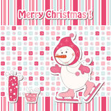 Cartoon  snowman ice skating Royalty Free Stock Images
