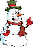 Cartoon snowman with an idea Stock Image