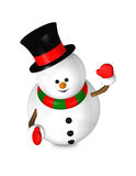 Cartoon snowman looks up isolated over white Stock Image